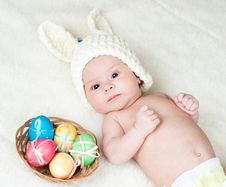 Free Baby Girl Dressed In Easter Bunny Cap Royalty Free Stock Images - 29455699