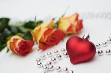 Roses And Heart Stock Photography