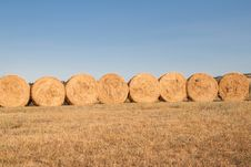 Row Of Bales Of Hay Royalty Free Stock Photos