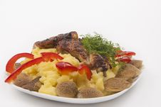 Free Plate With Grilled Fresh Meat And Mash Potato, Mashrooms And Veg Stock Photography - 29473692