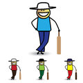 Free Illustration Of Young Boy Holding Bat Playing Cricket Game. Royalty Free Stock Images - 29482239