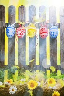 Free Art Easter Egg Background Fence Card Spring Flower Royalty Free Stock Photo - 29480745