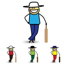 Illustration Of Young Boy Holding Bat Playing Cricket Game. Royalty Free Stock Images
