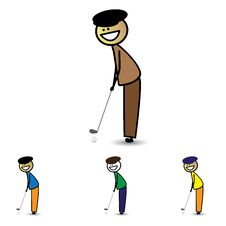 Illustration Of Young Boy&x28;kid&x29; Holding Club Playing Golf Game Stock Photography