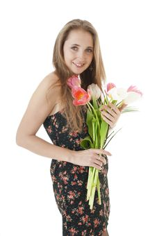 Portrait Of A Happy   Girl With A Bouquet Of Spring Tulips. Stock Photos