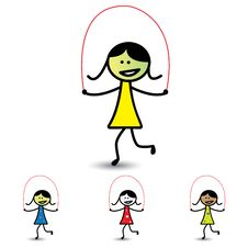 Free Illustration Of Young Girls Playing Skipping Game & Having Fun Stock Photo - 29484280