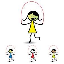 Illustration Of Young Girls Playing Skipping Game & Having Fun Stock Photo