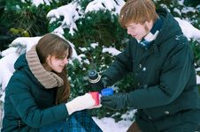 Free Couple Drinking Tea In Winter Royalty Free Stock Photo - 29485045