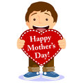 Free Cute Boy With Mothers Day Card Royalty Free Stock Image - 29490806