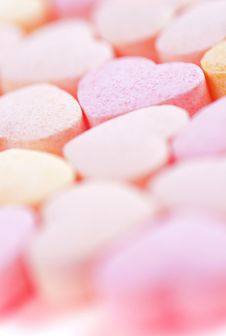 Hearts Shaped Sugar Pills. Stock Image