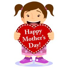 Free Cute Girl With Mothers Day Card Stock Images - 29491844
