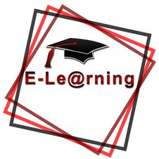 Free E-Learning - Red Font With Black Hat Royalty Free Stock Image - 29499936