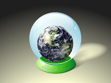 Free Globe Earth Inside Water Glass Ball Stock Photography - 2950202