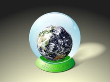Free Globe Earth Inside Water Glass Ball Stock Photos - 2950213