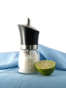 Half Of Green Lime And Sugar D Stock Photography
