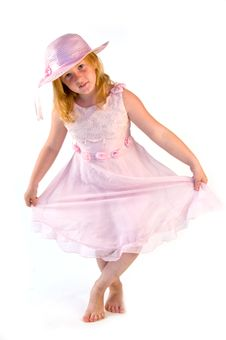 Free Girl Standing In Pink Dress Royalty Free Stock Photography - 2953907