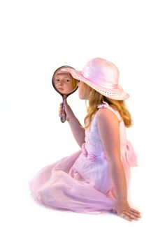 Free Young Girl Holding A Mirror Royalty Free Stock Photography - 2953947