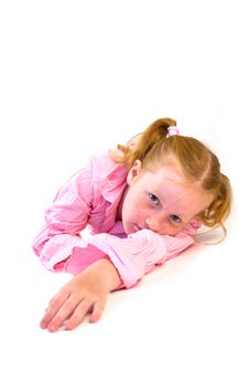 Free Young Girl Laying On Floor Royalty Free Stock Images - 2954809