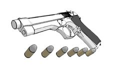 Free 3D Gun Royalty Free Stock Image - 2955486