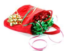 Festive Ribbons Bows And Bag Royalty Free Stock Photo