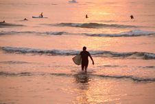Free Surfers At Sunrise Stock Photography - 2958572