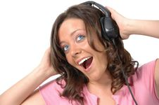 Free Beautiful Girl With Headphones Royalty Free Stock Images - 2959569