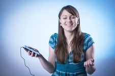 Student Girl Listening To Music Royalty Free Stock Photo