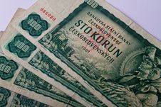 Old Czechoslovak Banknotes Royalty Free Stock Photos
