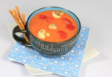 Mushrooms And Bell Peppers Cream Soup Stock Image
