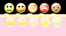 Free Set Of Smiley Faces On Black Background Royalty Free Stock Photography - 29507427