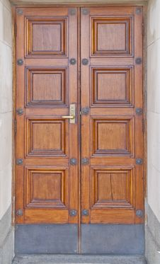 Double Wooden Doors Stock Photo