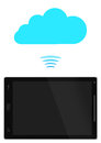 Free Tablet PC With Blue Cloud Stock Image - 29536181