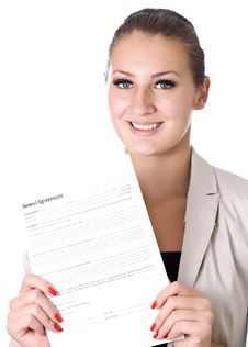Free Business Woman With The Contract In Hand Stock Photo - 29533140