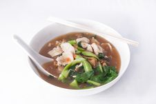 Flat Rice Noodle With Gravy Sauce. Royalty Free Stock Images