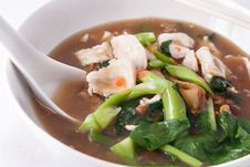 Flat Rice Noodle With Gravy Sauce. Royalty Free Stock Photography