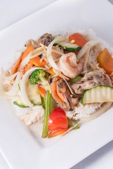 Stir Fried Ginger Sauce Seafood With Rice Royalty Free Stock Photo