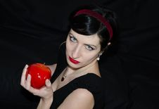 Free Brunette Woman With Red Apple Royalty Free Stock Photos - 29539228