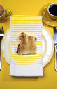Free Yellow Theme Happy Easter Breakfast Table With Bunny Rabbit Toast - Vertical Royalty Free Stock Photography - 29544437
