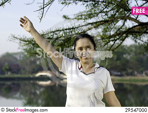 Free Happy Woman Smiling Carefree And Joyful In Park Stock Photo - 29547000