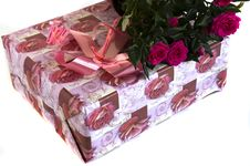 Box With A Gift And Bouquet Of Roses Stock Image