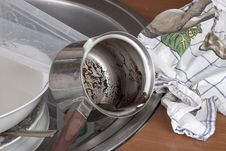 Dirty Dishes In The Sink Stock Photos