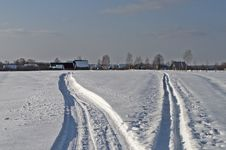 Free Snowmobile Trails In The Countryside Stock Photos - 29543343