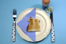 Blue Theme Happy Easter Breakfast Table With Bunny Rabbit Toast Royalty Free Stock Photos