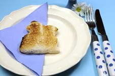 Free Blue Theme Happy Easter Breakfast Table With Bunny Rabbit Toast - Close-up Royalty Free Stock Image - 29544466
