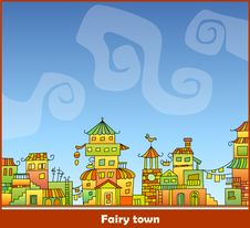 Fairy-tale Hand-drawn Town Royalty Free Stock Photo