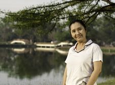 Portrait Smiling Woman Outdoors Royalty Free Stock Image