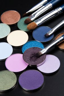 Purple Eye-shadows With Brush Stock Photos