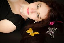 Free European Woman With Butterflies On The Hair Royalty Free Stock Photography - 29551337