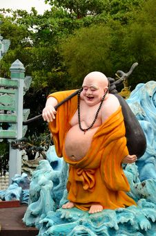 Free Laughing Buddhist Monk On Journey Royalty Free Stock Photo - 29553855