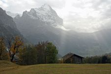 Autumn With View On The Eiger, Grindelwald Valley Stock Photos